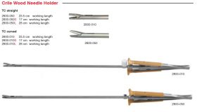 2800-050 HL CRILE WOOD NEEDLE HOLDER TC STR w/ RATCH SQZ HDL 23.5cm WL